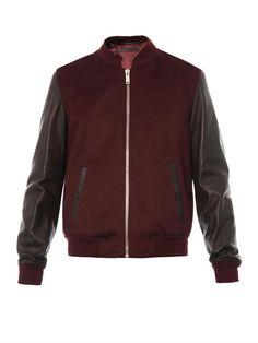 Alexander McQueen Leather-Sleeve Wool Bomber Jacket