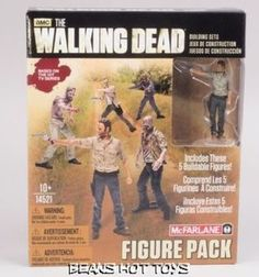 The Walking Dead TV McFarlane Building Sets Figure Pack 1 Rick, Merle, + Walkers #McFarlaneToys