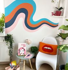 How to paint a Rainbow inspired mural indoors by Doodlemoo. We recently painted a wavy rainbow inspired mural which has been loved on our Social Media so here's how we did it. Wall Murals Bedroom, Bedroom Decor, Bathroom Mural, Mural Wall, Design Seeds, Aesthetic Room Decor, My New Room, Home Interior Design, Colorful Interior Design