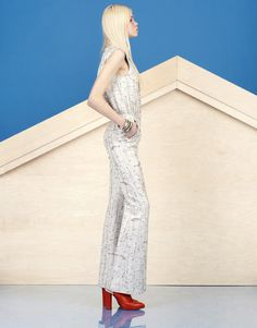 Look 21 - Grey and silver birch bark print sleeveless jumpsuit with flares | Alexander Lewis PreFall2013