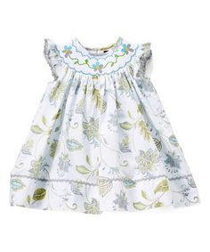 Love this Turquoise Flower Smocked Bishop Dress - Infant, Toddler & Girls on #zulily! #zulilyfinds