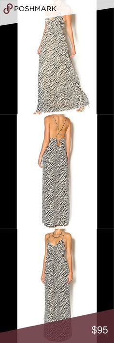 " Zebra Print Maxi  NWT Weighted poly blend zebra Maxi dress with waisted panel and a v neck bodice travels into sphaghetti straps that meet knotted into a deep back. Wear this light maxi with a distressed denim vest over and slip on sandals.   Brand: Ark & Co. NWT!!  Fiber Content: 95% polyester, 5% spandex   Model is wearing size S. Model's height 5'9"", bust 32"", waist 24"", hips 34"". Ark & Co Dresses Maxi"
