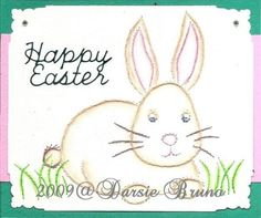 Cute Easter card using a paper embroidery pattern in my Etsy shop