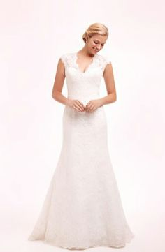 V-Neck Sheath Wedding Dress  with No Waist/Princess Seams in Lace. Bridal Gown Style Number:32485047