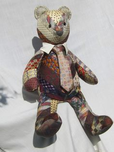 Teddy bear made from granddad's old ties to give to their grandkids.  Quilted Memory Bear by Iseam2remember on Etsy