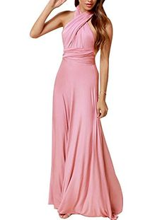 Zkess Women s Sleeveless Plated Mauve Prom Long Evening Dress It is with  cross halter style. One Size(CM)  Waist Any Problem f3424339e9c2