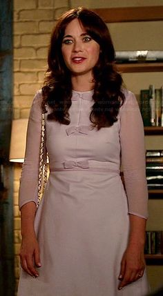 Zooey Deschanel's Lavender bow dress on New Girl.  Outfit Details: http://wwzdw.com/z/4686/ #WWZDW