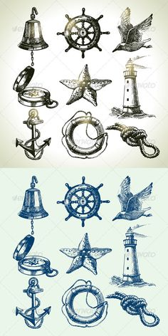 Hand Drawn Sea Set - Objects Vectors