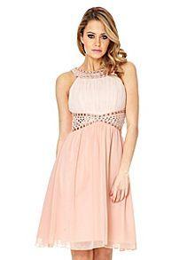 Quiz Peach Chiffon Two Tone Embellished Dress At Debenhams Mobile
