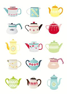 Teapots Art Print, Kitchen Wall Art, Kitchen Teapots, Teapot illustration…
