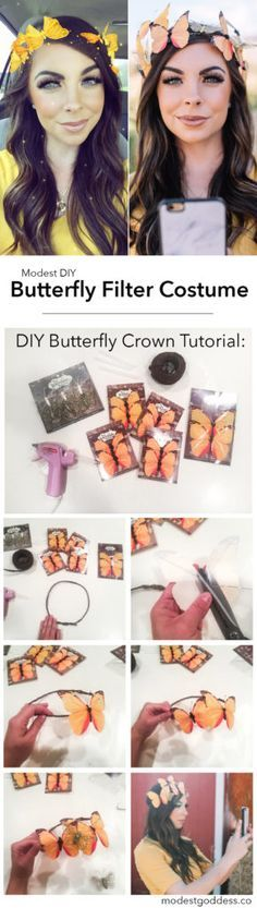 Snapchat Filter Costume! This DIY butterfly filter costume is 1 of 7 modest halloween costume ideas!