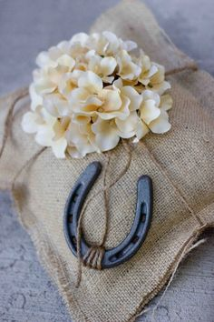 Perfect for a ranch/mountain wedding! Large Burlap Ring Pillow With Horseshoe and Hydrangea by sweetcs, $30.00