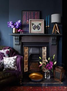 Gothic interior Deep colours are bang on-trend but need contrast to shine. If you have a black fireplace, try pairing it with reflective textures, such as glowing bronze metallic and warm copper, and some jewel tones. Salons Violet, Decor Interior Design, Interior Decorating, Decorating Ideas, Interior Plants, Interior Ideas, Interior Inspiration, Sainsburys Home, Dark Interiors
