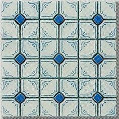 花柄 タイル モザイクタイル シート販売です(青色)(艶あり・磁器質) 床 壁(キッチン カウンター・浴室・洗面所・洗面台・浴槽・トイレ・玄関) の DIYリフォームにOK。大正・昭和レトロな、アンティーク・デザインタイル インテリア 建材です