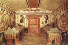 *** Pintura de la Tumba de los Augures, en Tarquinia. (h.520 a.C).