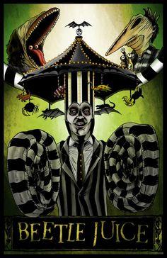 "johnny-dynamo: ""Beetlejuice by Jason Flowers "" Arte Horror, Horror Art, Horror Movies, Tim Burton Kunst, Tim Burton Art, Beetlejuice Cartoon, Beetlejuice Halloween, Alternative Movie Posters, Movie Poster Art"