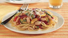 The recipe and ingredients for the American Heart Association's heart-healthy Linguine with Cannellini Beans and Summer Squash.