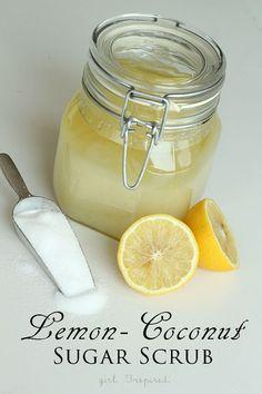Lemon Coconut Sugar Scrub recipe from @Stef (Girl. Inspired.) #diy #beauty