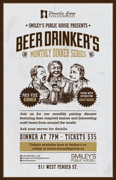 Beer Drinkers Dinner Series at Smiley's - Tuesday, October 23rd
