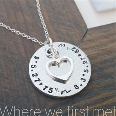 Coordinate Necklace ..I will never forget the day we first met.