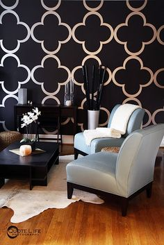 Ideas Bedroom Black Wallpaper For 2019 Decoration Inspiration, Decoration Design, Black Wallpaper, Wall Wallpaper, Wallpaper Ideas, Wallpaper Patterns, Painted Wallpaper, Graphic Wallpaper, Modern Wallpaper