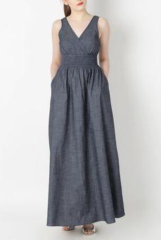 Chambray Maxi Dress, Plus Size Maxi Dresses Shop women's designer fashion - Empire Waist Dresses - Empire Dresses | Women's Clothing at eShakti.com - | eShakti