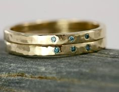Diamond and 14k Gold Wedding Band Hammered Band by ScarlettJewelry