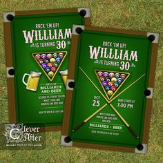 Billiards Invitation Billiards and Beer Invite 30th Birthday 40th 50th 60th for men Beers - Printable Printed Billiard Invites tournament by CleverAfterCreations on Etsy https://www.etsy.com/listing/470869476/billiards-invitation-billiards-and-beer