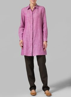 Linen Two Tone Purple Rolled Sleeve Long Top