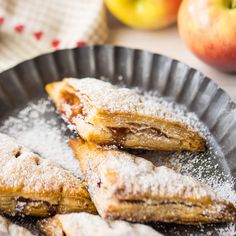 Light buttery & flaky with a sweetly cinnamon spiced fruit filling- this classic recipe is perfect for breakfast brunch or dessert! Apple Turnover Recipe, Turnover Recipes, Apple Turnovers, Mini Desserts, Apple Desserts, Gourmet Recipes, Baking Recipes, Dessert Recipes, Apple Recipes