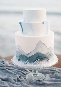 Dusty Blue Ocean Wedding Cake!