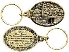 KRDC14A Key Ring Antique Brass DC Monuments