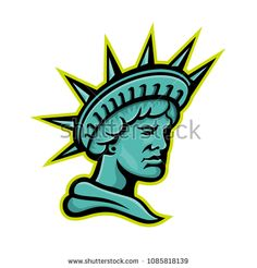 Mascot icon illustration of head of Libertas or Lady Liberty, the Roman goddess and embodiment of liberty wearing a crown viewed from side on isolated background in retro style. Retro Style, Retro Fashion, Liberty, Roman, Royalty Free Stock Photos, Signages, Symbols, Retro Illustration, Lady