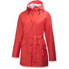 Helly Hansen Kirkwall Rain Coat ($87) ❤ liked on Polyvore featuring outerwear, coats, helly hansen, red rain coat, waterproof raincoat, rain coat and waterproof coat