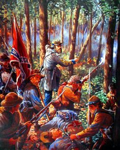 Colonel William Oates leading his 15th Alabama Infantry Regiment up slopes of Little Round Top to attack left flank of Union Army on 2nd day of Battle of Gettysburg- by Mark Churms