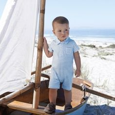 Baby Boy's Short Sleeve Shortie - Blue from The White Company