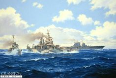 USS Baltimore (CA-68) and Saratoga in the Pacific by Anthony Saunders. - Cranston Fine Arts Aviation, Military and Naval Art