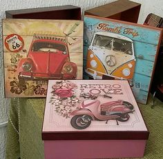 Decoupage Vintage, Decoupage Box, Painted Boxes, Wooden Boxes, Fabric Painting, Painting On Wood, Mixed Media Boxes, Diy Storage Boxes, Diy And Crafts