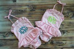 Pink one piece personalized swim suit, little girls, bikini, seersucker, monogram https://www.etsy.com/listing/226960182/monogrammed-or-plain-little-girls-pink
