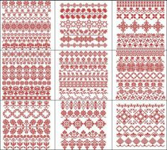 """Traditional Cross Stitch Band Samplers"" for 8x8 hoops and up, are perfect for quilts, or join together repetitively to create wide borders that look like vintage cross stitch!"