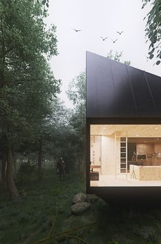 Industrial Design student Tomek Michalski drafted this cabin in the forest as a retreat for people who need rest, seclusion from other people, the world. Cabin Design, House Design, Ideas De Cabina, Architecture Design, Design Industrial, Forest Cabin, Cabins In The Woods, Black House, Interior And Exterior