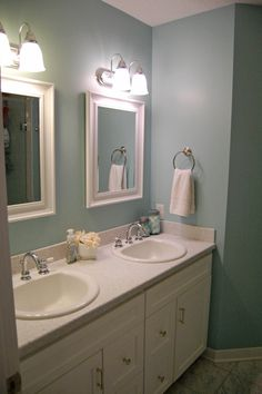 Sherwin Williams Watery- I just finished painting my bathroom. I love the color!!