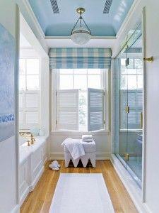 Blue and white bathroom by apd Architects Blue ceilings. White Bathroom, Master Bathroom, Bathroom Beach, Barn Bathroom, Coastal Bathrooms, Light Bathroom, Bathroom Ideas, Sweet Home, Blue Ceilings
