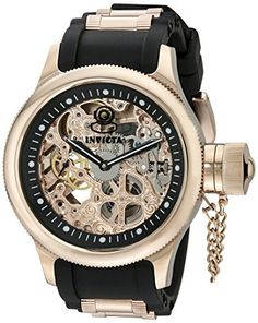 Invicta Men's 1090 Russian Diver Rose Gold-tone Stainless Steel Skeleton Watch Invicta