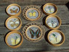 Vintage 1950's60's Wicker Butterfly Coasters by Raidersoflostloot, $15.00