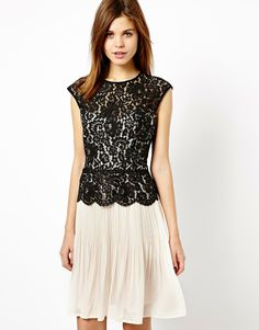 Warehouse Lace Bodice Pleated Dress