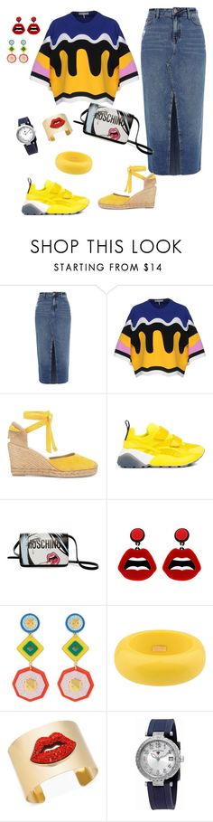 """Kiss my red lips"" by minh2phuong ❤ liked on Polyvore featuring River Island, Emilio Pucci, STELLA McCARTNEY, Moschino, sweet deluxe, Henri Bendel, Dsquared2, Thalia Sodi, Swiss Legend and denimskirts"