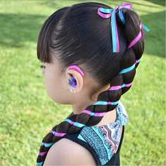 Beautiful braided hairstyles for wedding. Cute Hairstyles Updos, Lil Girl Hairstyles, Short Hairstyles, Hairstyles 2016, Braids With Weave, Braids For Long Hair, Weave Braid, Ribbon Hairstyle, Ribbon Braids