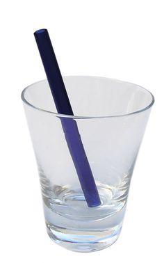 Brilliant Blue Short Smoothie Straw