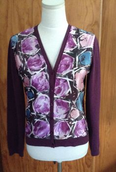 Vintage abstract print scarf applied to cardigan.